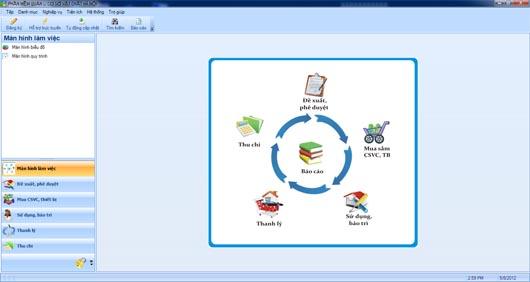 Giao diện phần mềm quản lý cơ sở vật chất Hà Nội